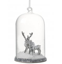 Hang this beautiful silver resin reindeer dome in your tree to add that sweet feel of a winter wonderland
