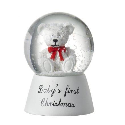 Christmas Snowglobes.Gac202a White Bear 1st Christmas Snowglobe 34201