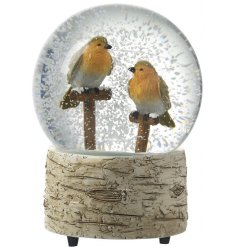 A vintage styled resin based snowglobe, with two sweet perched Robin Red Breasts