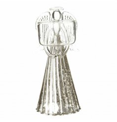 A beautifully delicate glass angel figure with a tlight holder