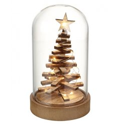 A unique Christmas decoration! We love this 3D wooden tree with LED lights, presented beautifully within a glass cloche.