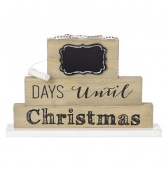 A 3D standing Days Until Christmas block with bow and chalkboard.