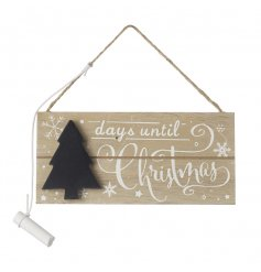 A chic natural wooden countdown hanger with a tree shaped chalkboard.