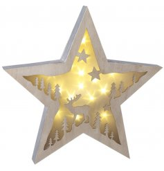 A stunning 3D star decoration with a woodland scene and star shaped LED lights.