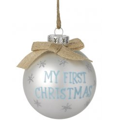 "A beautiful little pearlescent coated blue bauble complete with ""My First Christmas"" quote"