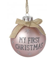 """An adorable pearlescent coated pink bauble with """"My First Christmas"""""""