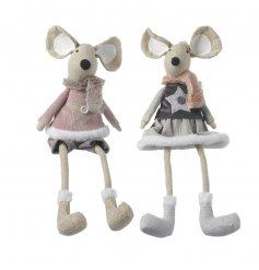 2 sweetly dressed sitting fabric mice in a popular Vintage Pink colour theme