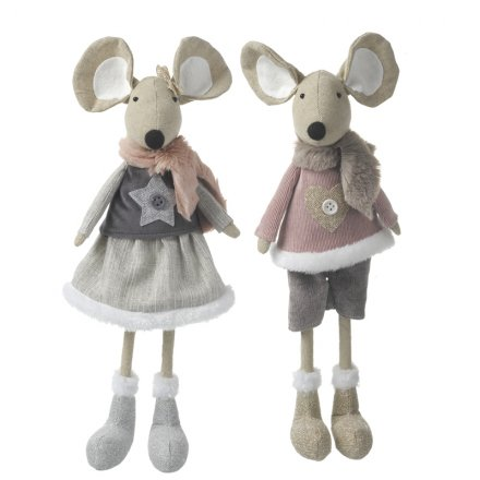 2 sweetly dressed standing fabric mice in a popular vintage pink colour theme