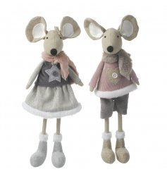 A sweet dressed duo of standing fabric mice