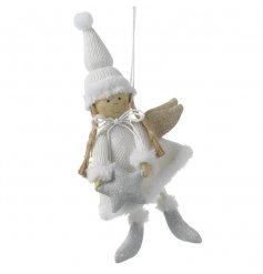 Hang this sweet little fabric angel to your christmas tree for that extra sparkle