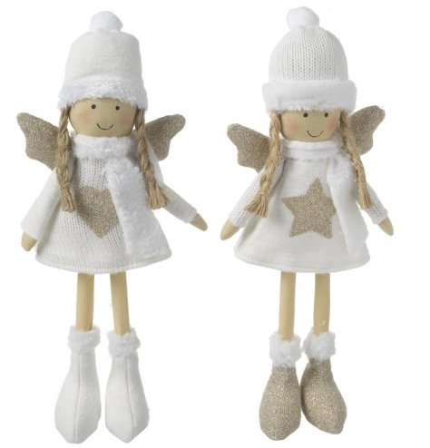 Assorted standing angel decorations in white winter knitted outfits, including hats and boots.