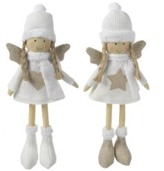 Two adorable fabric angels with glistening gold detail