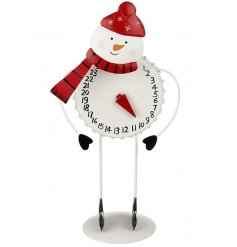 A quirky standing metal snowman with a dial and numbers to count down the days until christmas