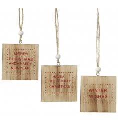 These 3 assorted hanging wooden signs are perfect to add to your tree for a simple yet stylish look