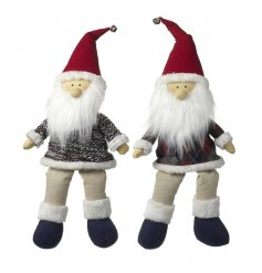 2 quirky fluffy bearded sitting santas, complete with little hanging legs and a checkered coat