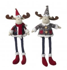 A funky assortment of two sitting fabric reindeers in a nordic colour scheme