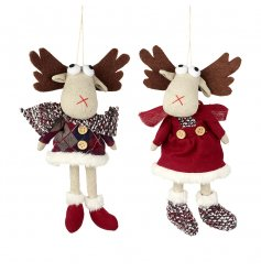 2 quirky hanging fabric moose, perfect for any nordic theme this christmas