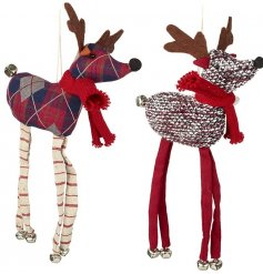 These two nordic themed hanging fabric reindeers will be sure to add a dash of fun to your christmas tree