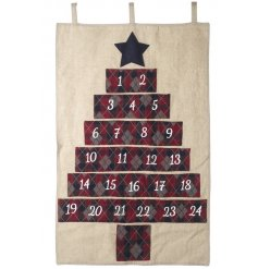 Add some festive fun to your christmas decor this year with this nordic styled red and blue fabric advent calendar