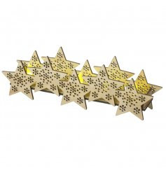 A beautiful natural feature item for the home this season. LED lights create a warm glow through each decorative star