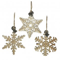 A mix of 3 wooden snowflake hanging decorations, each with a festive silver bell.