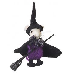 Mouse In Hat & Cape  This little felt mouse is ready for the spooky fun on halloween topped with a witches hat and broom