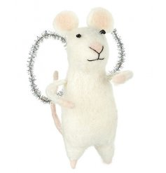 Don't miss out on this best selling felt mouse with silver glitter angel wings.