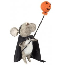 An adorable little felt mouse ready for halloween! Complete with his cape and mask and little pumpkin balloon