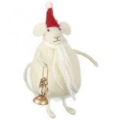An adorable felt mouse decoration with a gold lantern, Christmas hat and scarf.