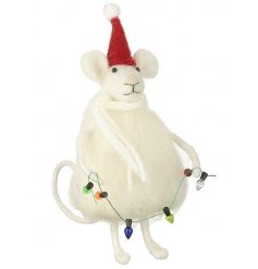 An adorable and unique Christmas mouse decoration with Santa's hat and colourful lights.