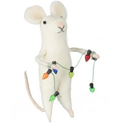 An adorable felt mouse decoration with a garland of colourful lights.