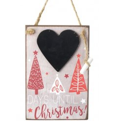 A contemporary red and grey style countdown Christmas hanger with heart shaped chalkboard and chalk.