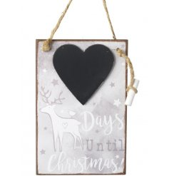 A pretty wooden chalkboard countdown with an enchanting reindeer design. Complete with chalk and jute hanger.