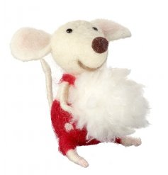 An adorable mouse decoration in red dungarees holding a snowball.