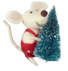A fabulous felt mouse hanging decoration with red polkadot dungarees and a green Christmas tree.