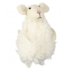An adorable white felt mouse with a lovely fluffy coat. A gorgeous gift item and home decoration.
