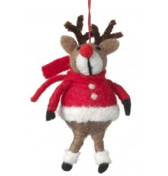 An adorable hanging reindeer figure with red nose and a festive jumper.