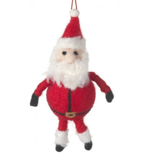 A jolly felt Santa decoration with a big belly and long woolly beard. Complete with a red string hanger.