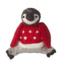 Fallen in love yet? An adorable felt penguin decoration with a red and white polkadot jumper.