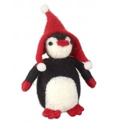 Fall in love with this adorable felt penguin decoration complete with a red winter hat with pom poms.