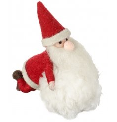 A unique felt decoration depicting Santa building a Snowman. A much loved seasonal decoration this season.