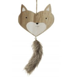 A chic heart shaped wooden fox decoration with a faux fur hanging tail.