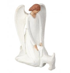A stunning kneeling angel with dog ornament, complete with a festive glitter finish.