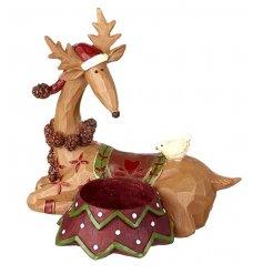 Sitting Reindeer & Bird Tealight Holder