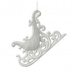White Glitter Sleigh Hanging Decoration