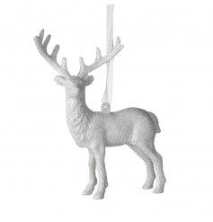 White Glitter Deer Hanging Decoration