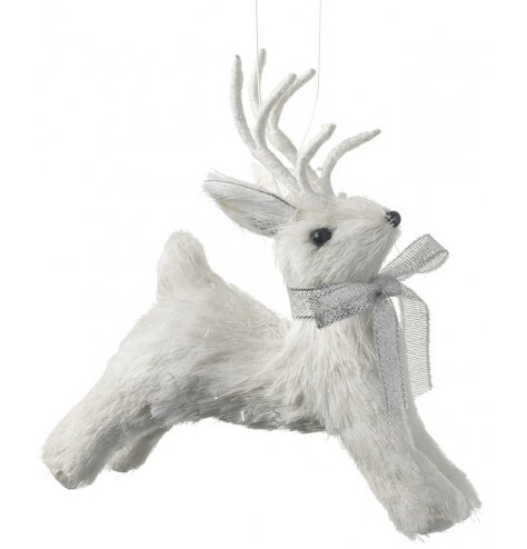 A white prancing reindeer decoration with layered bristles and a silver sparkling bow.