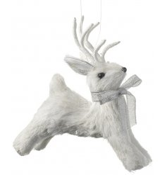 Sparkly White Reindeer Hanging Decoration