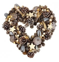 A Gold/Natural Christmas Heart shaped wreath with LED lights