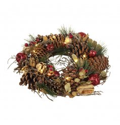 Small Autumnal Christmas Wreath With LED Lights